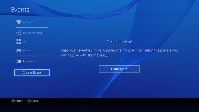 User Scheduled Event Playstation 3.5