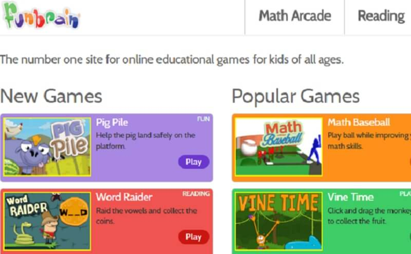 Fun Brain has some amazing fun games that will tickle your brain. Games  like Math Arcade, Math Baseball, and Tic Tac Toe Squares are some of the  games which ...